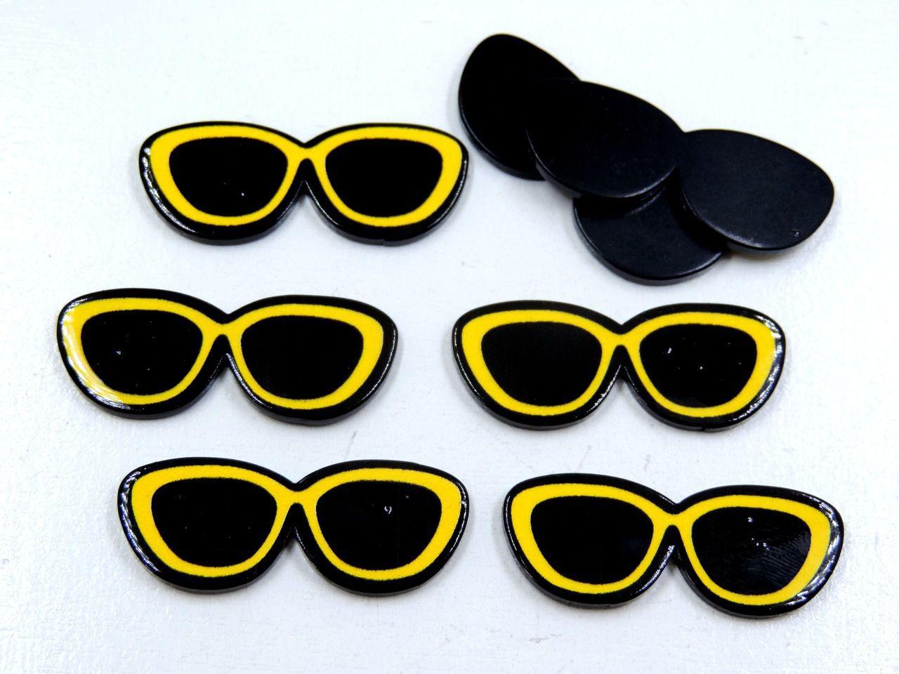 aplique óculos de sol 1,4x3,5cm para artesanatos 5 unidades