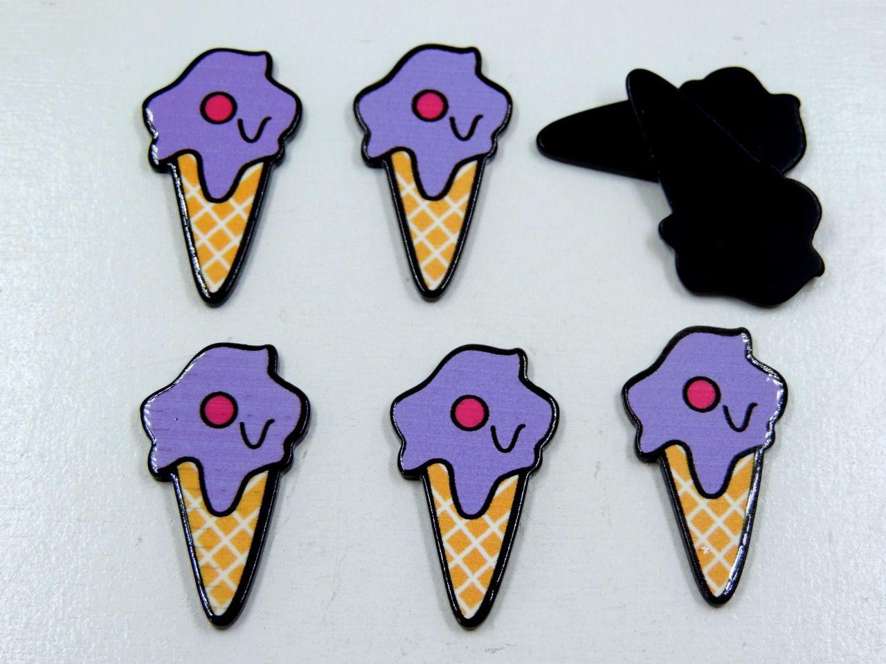 aplique sorvete 3,2x1,7cm para artesanatos 5 unidades