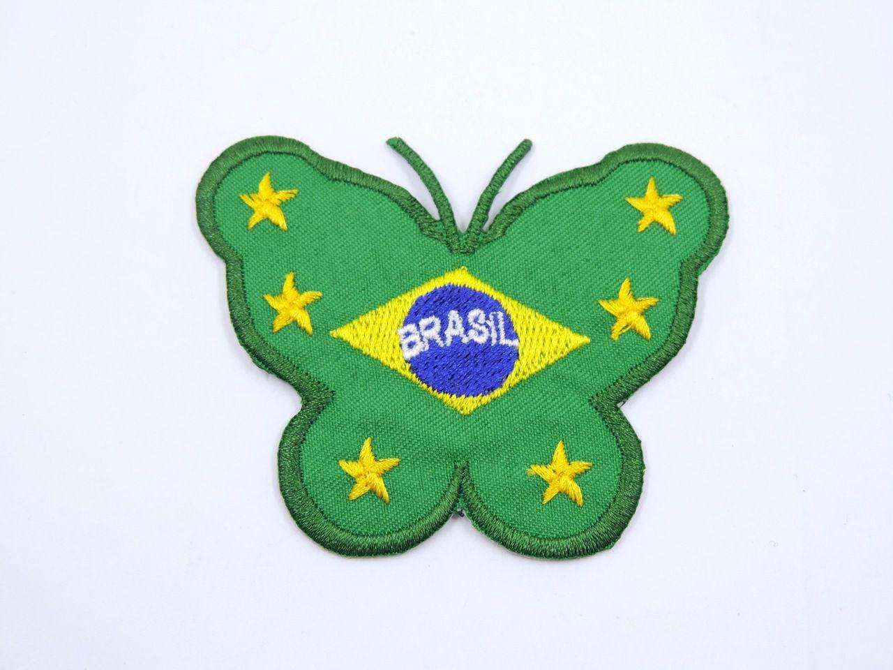 aplique termocolante borboleta brasil 8x6,5cm unitário