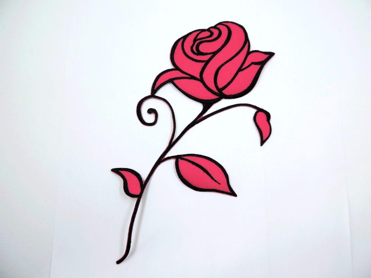 aplique termocolante flor rosa 20x10cm unitário