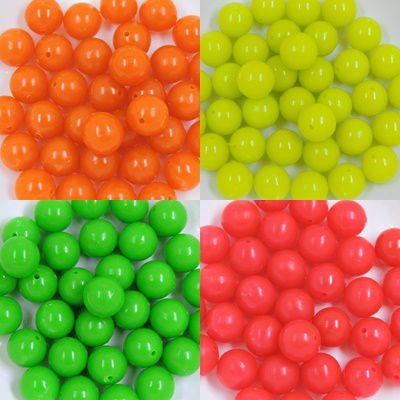 bola acrilica com furo 14mm neon fluorescente 50 unidades