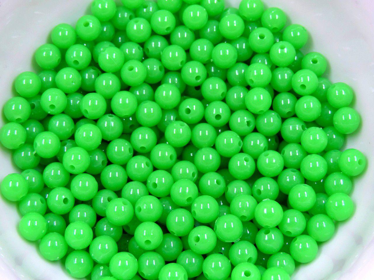 bola acrilica com furo 8mm neon fluorescente 200 unidades