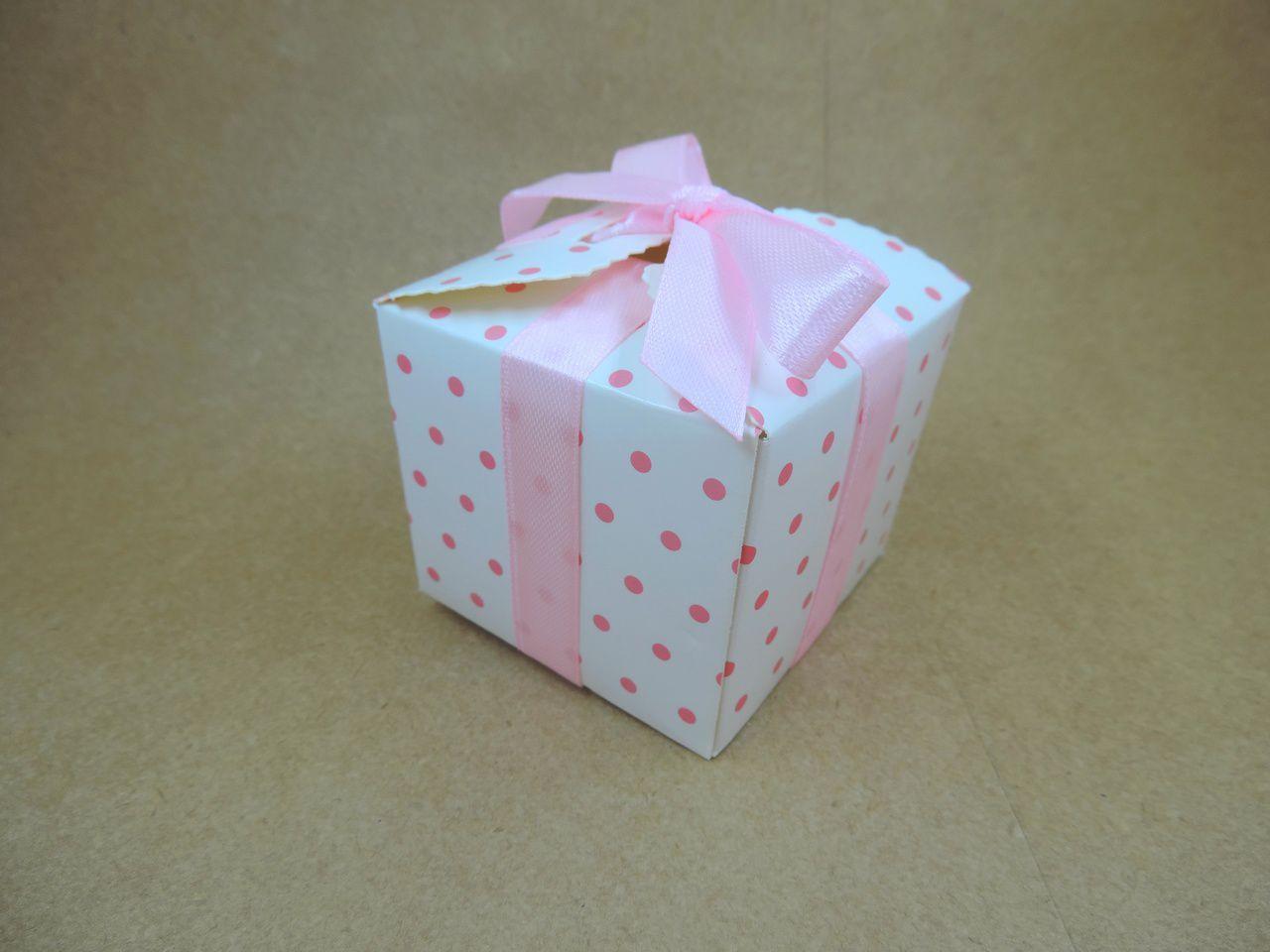 caixinha de papel bolinhas poá rosa bebê 12 unidades