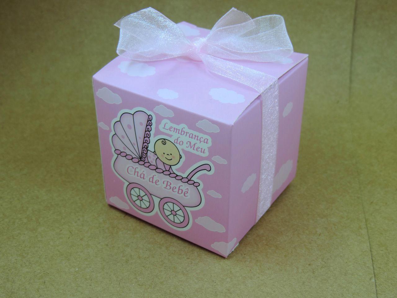 caixinha de papel chá de bebê rosa 6cm 10 unidades