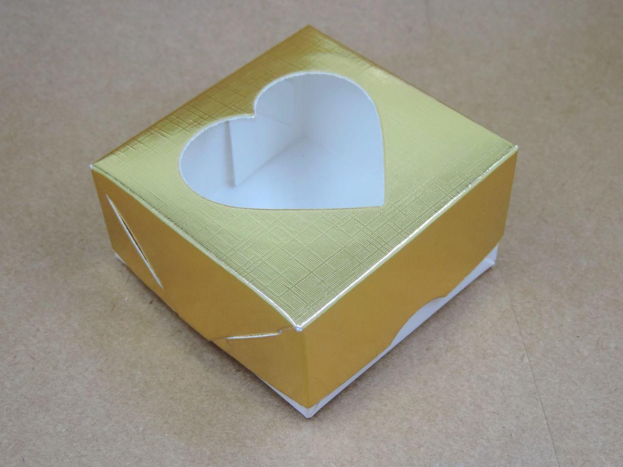 caixinha de papel coração dourado 3x7cm 10 unidades