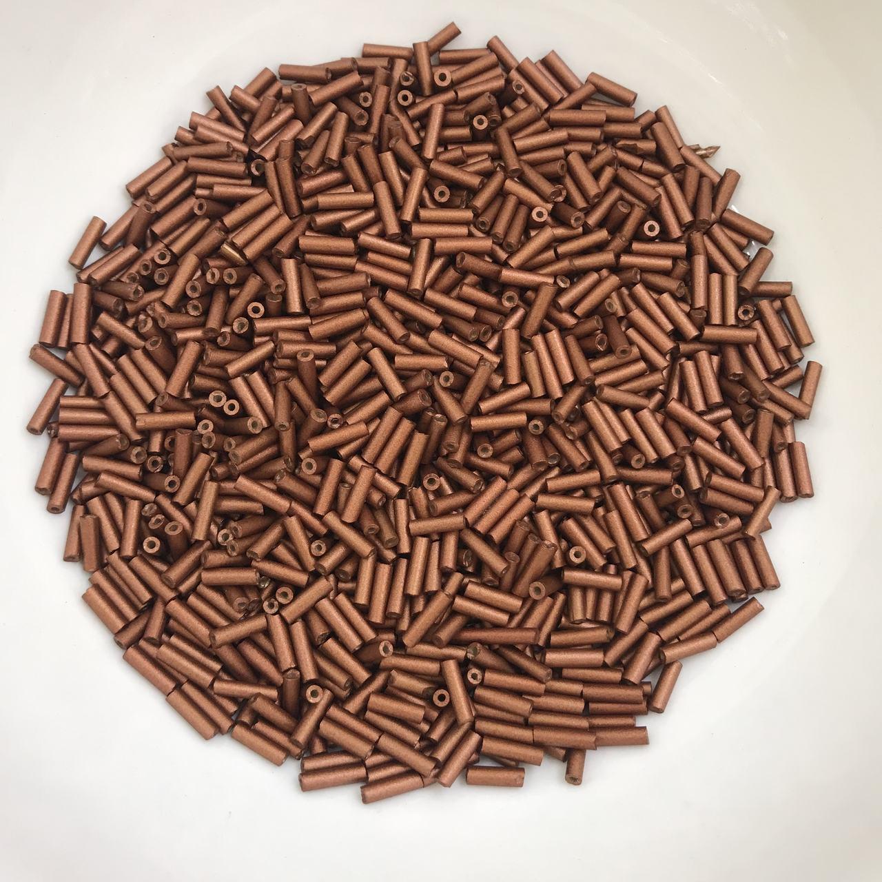 canutilho cobre 6mm com furo para bordados 25 gramas