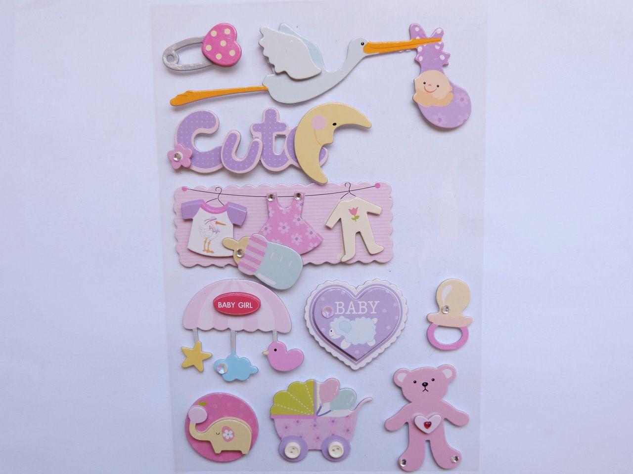 cartela de adesivo baby cute 3d 12x18cm 10 unidades