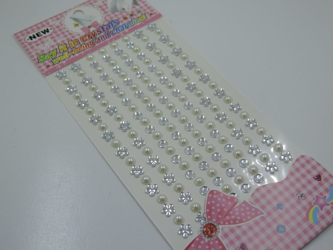 cartela de adesivo florzinha prata meia pérola strass 156 unidades