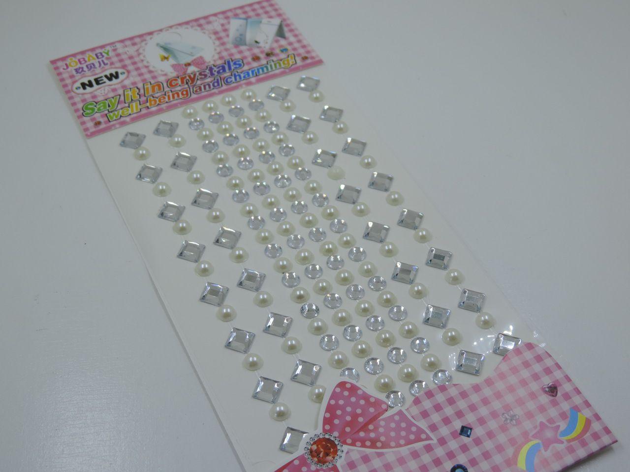 cartela de adesivo losângo prata meia pérola strass 148 unidades