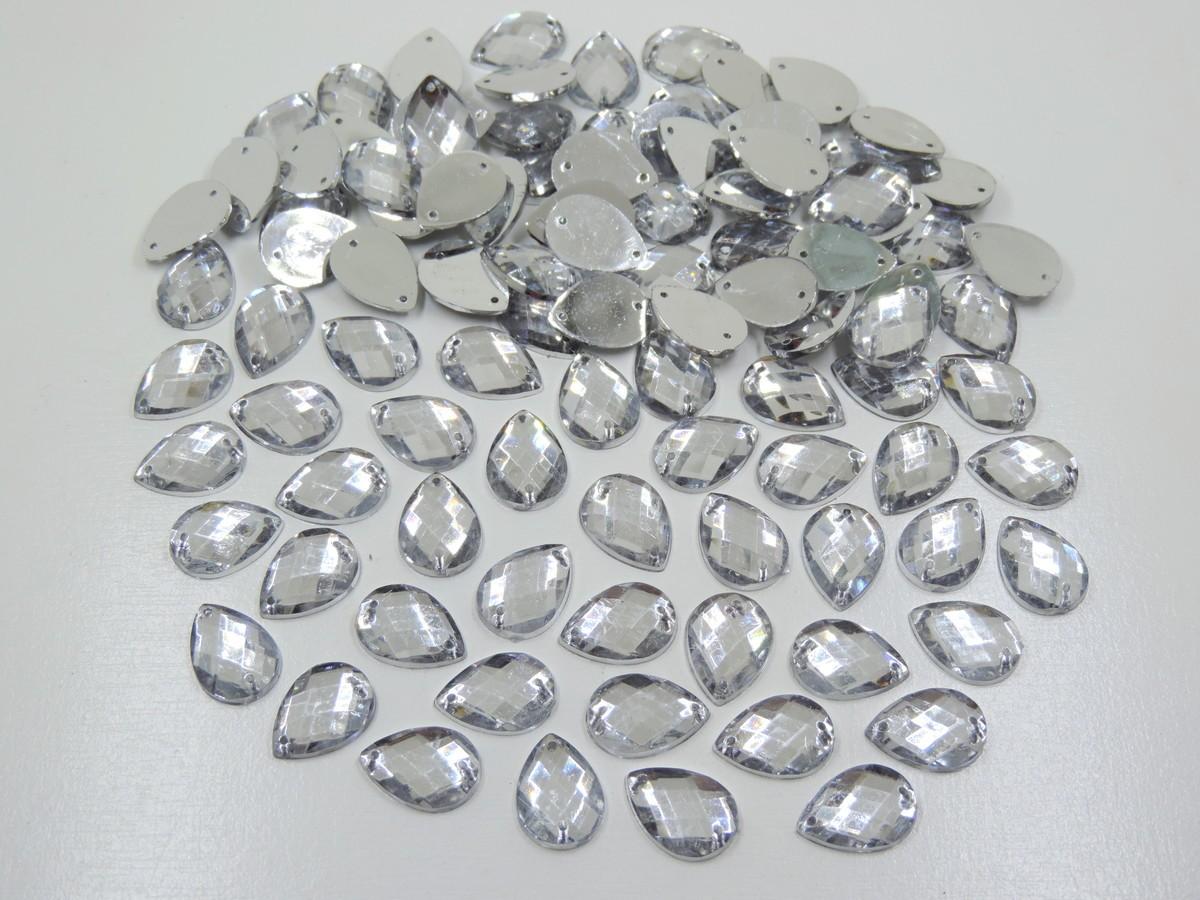 chaton gota cristal 13x18mm com furo 100 unidades