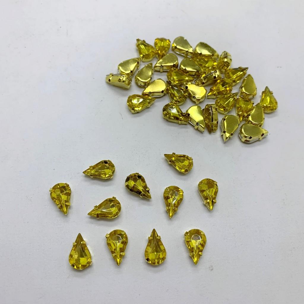 chaton gota engrampado dourado 13x8mm 10 unidades
