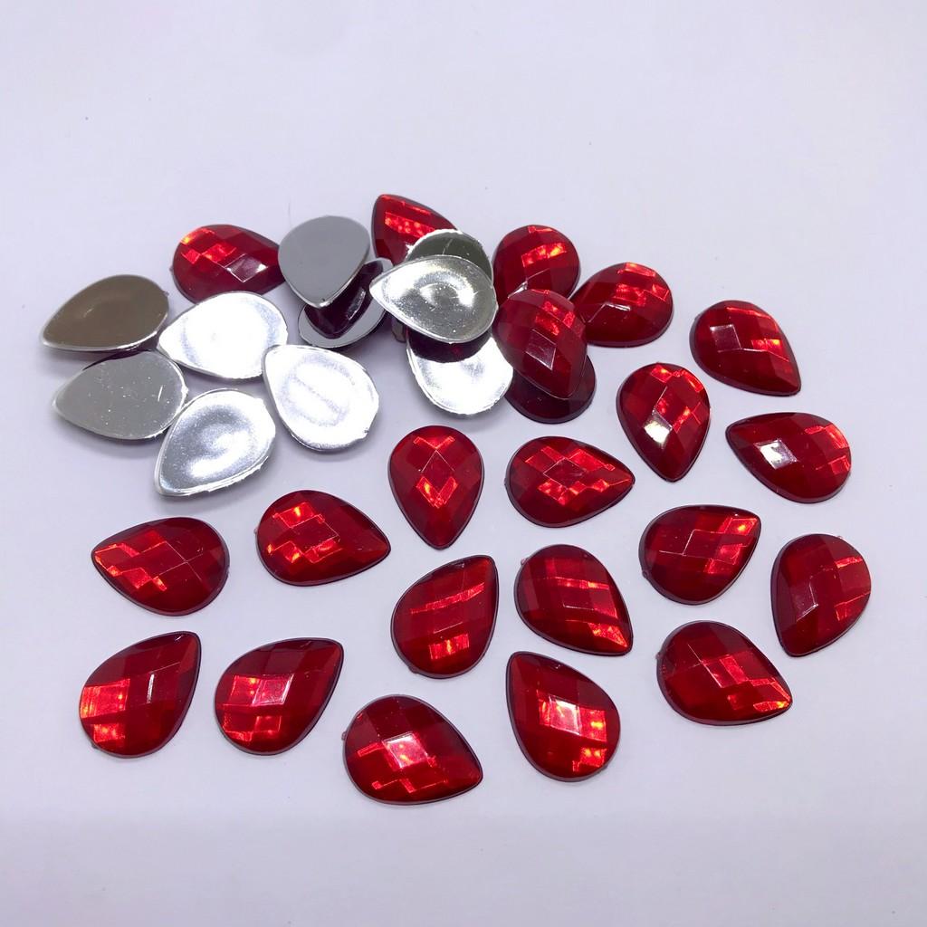 chaton gota sem furo 13x18mm furta cor e vermelho 100 unidades