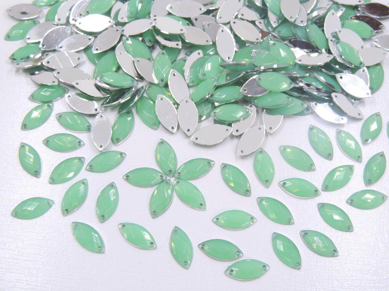 chaton navete gel verde 15x7mm com furo 200 unidades