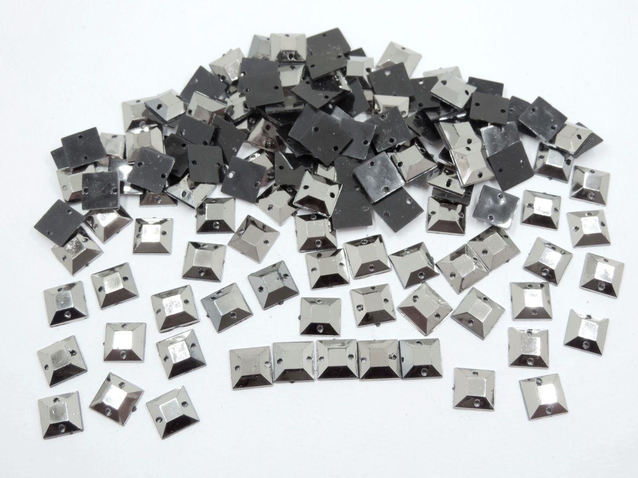 chaton quadrado com furo grafite para costura 200 unidades