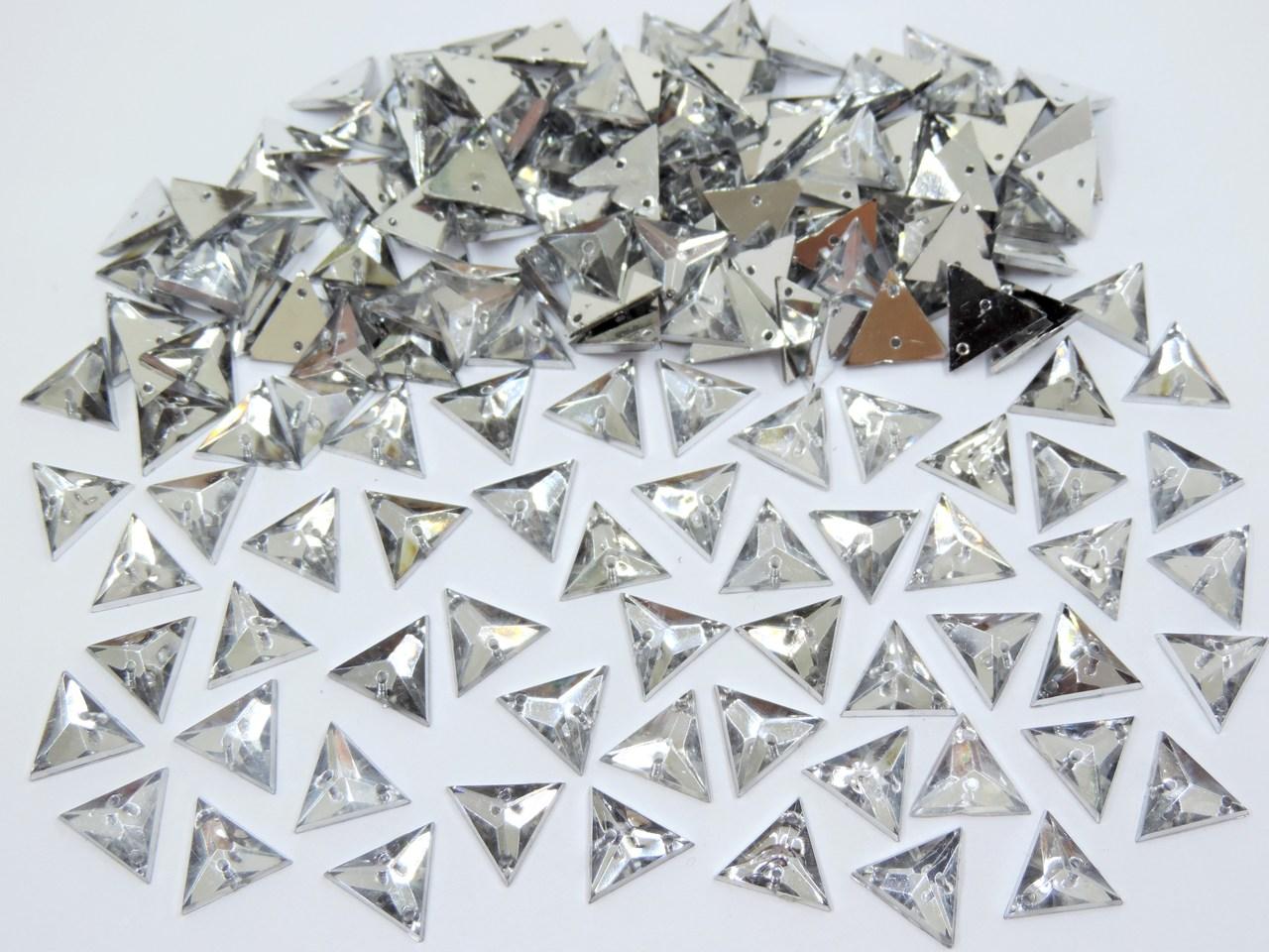 chaton triangular 14mm com furo 200 unidades