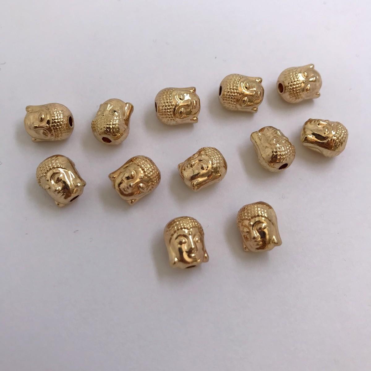 entremeio buda dourado 10x8mm 12 unidades