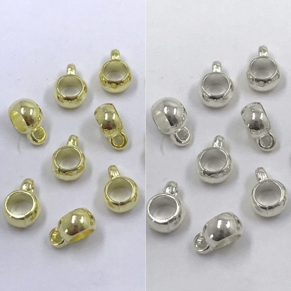 entremeio caneca prata e dourado com furo 10x5x7mm 12 unidades