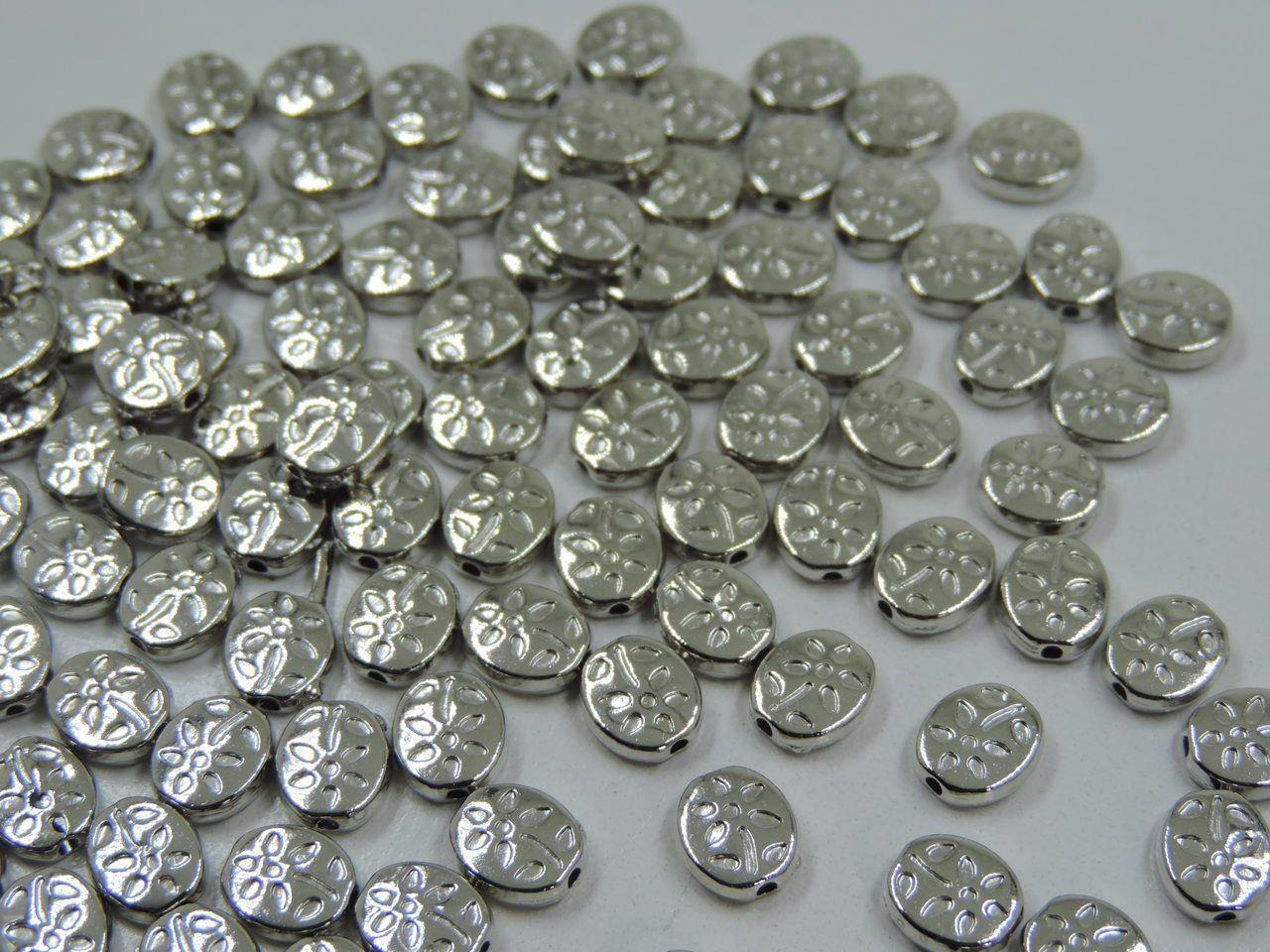 entremeio oval flor prata 8x7mm 24 unidades