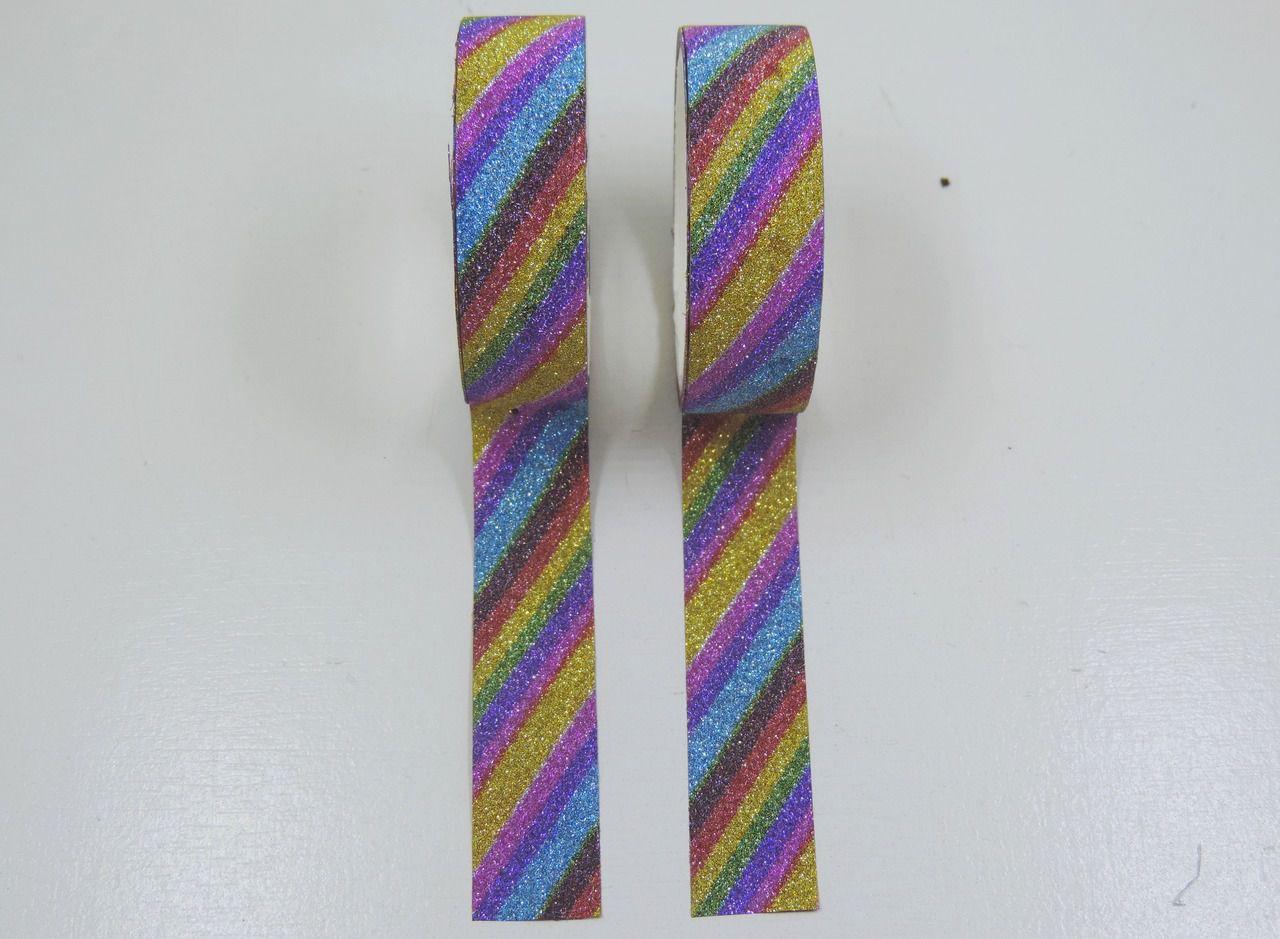 fita adesivo glitter colorido 2 unidades