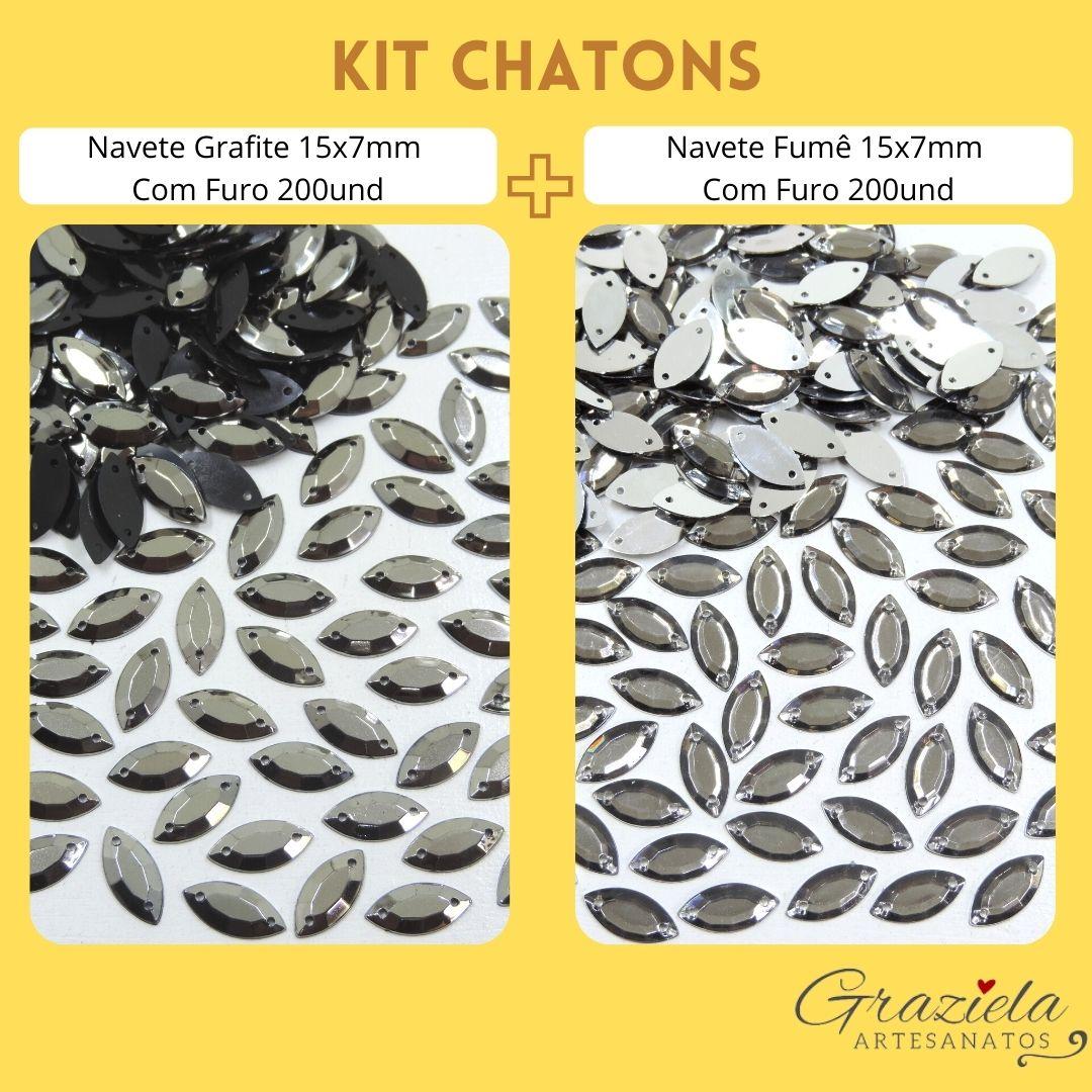 Kit Chaton Navete com Furo 15x7mm Grafite e Fumê 400und