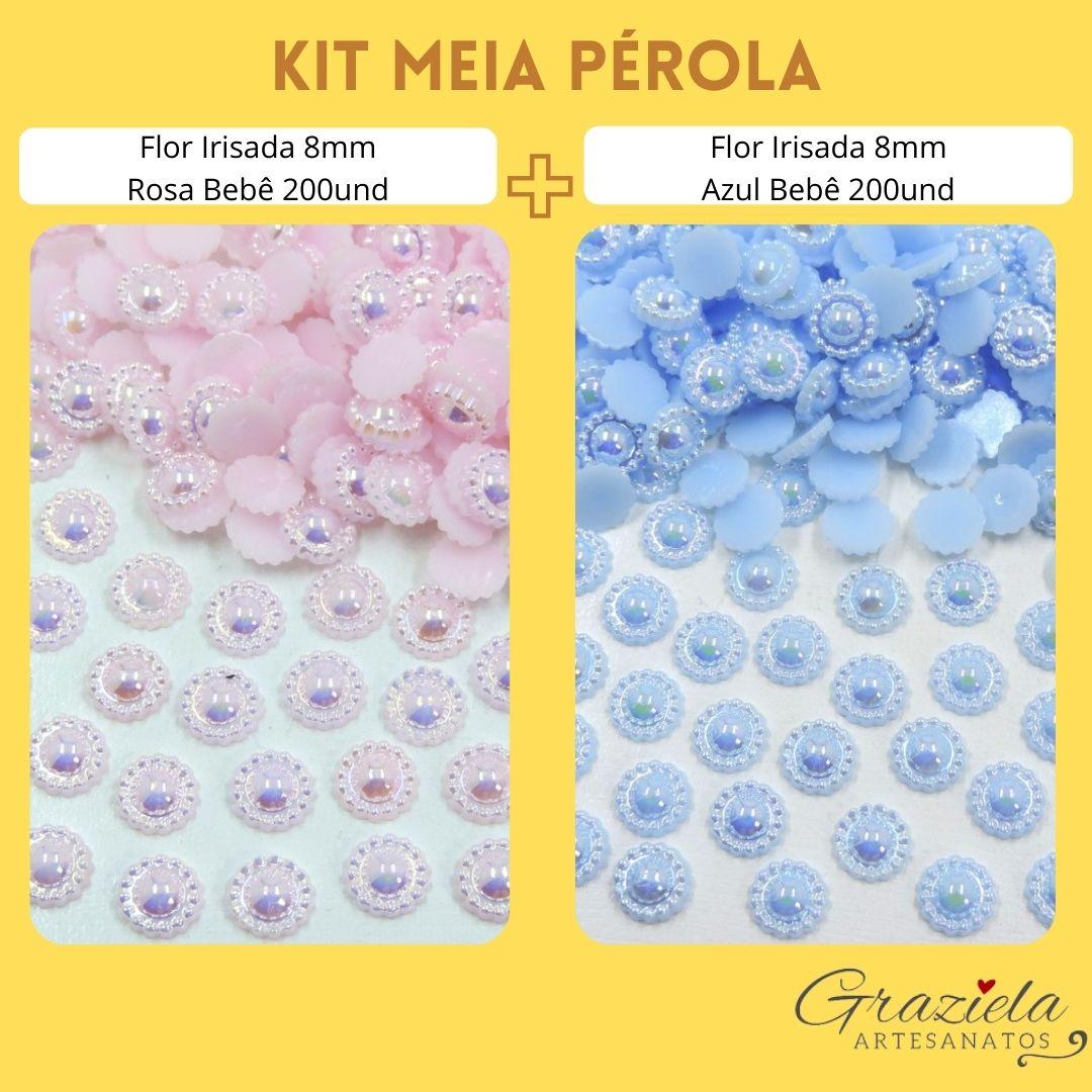 Kit Meia Pérola Flor Azul e Rosa 8mm Furta Cor 400und