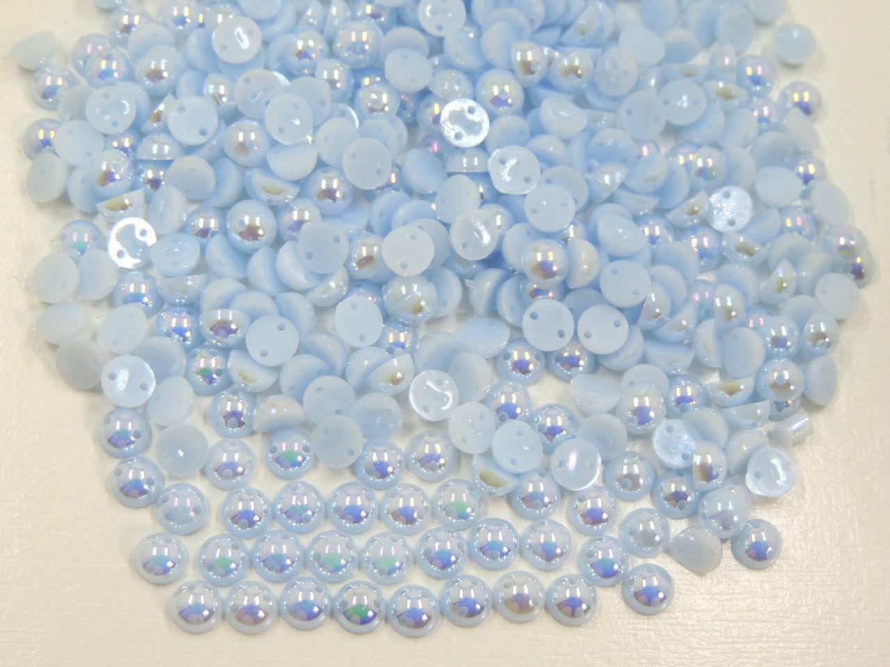 meia pérola furta cor azul bebê com furo 6mm 400 unidades