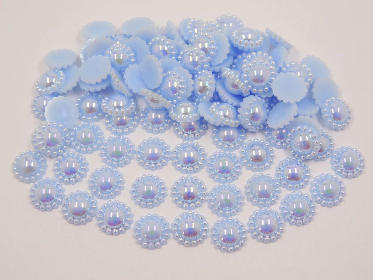 meia pérola flor furta cor 12mm colagem 100 unidades