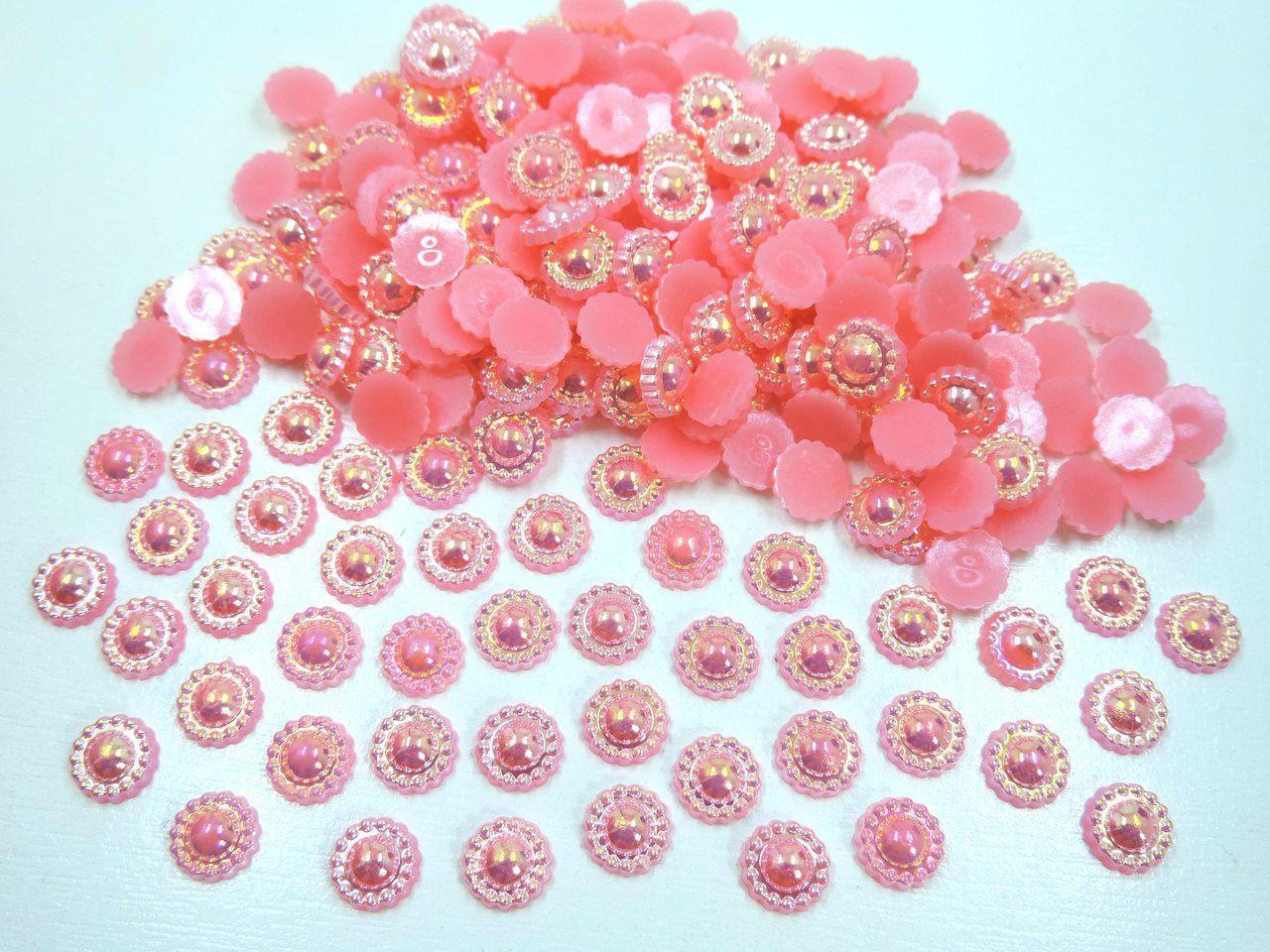 meia pérola flor furta cor 8mm colagem 200 unidades