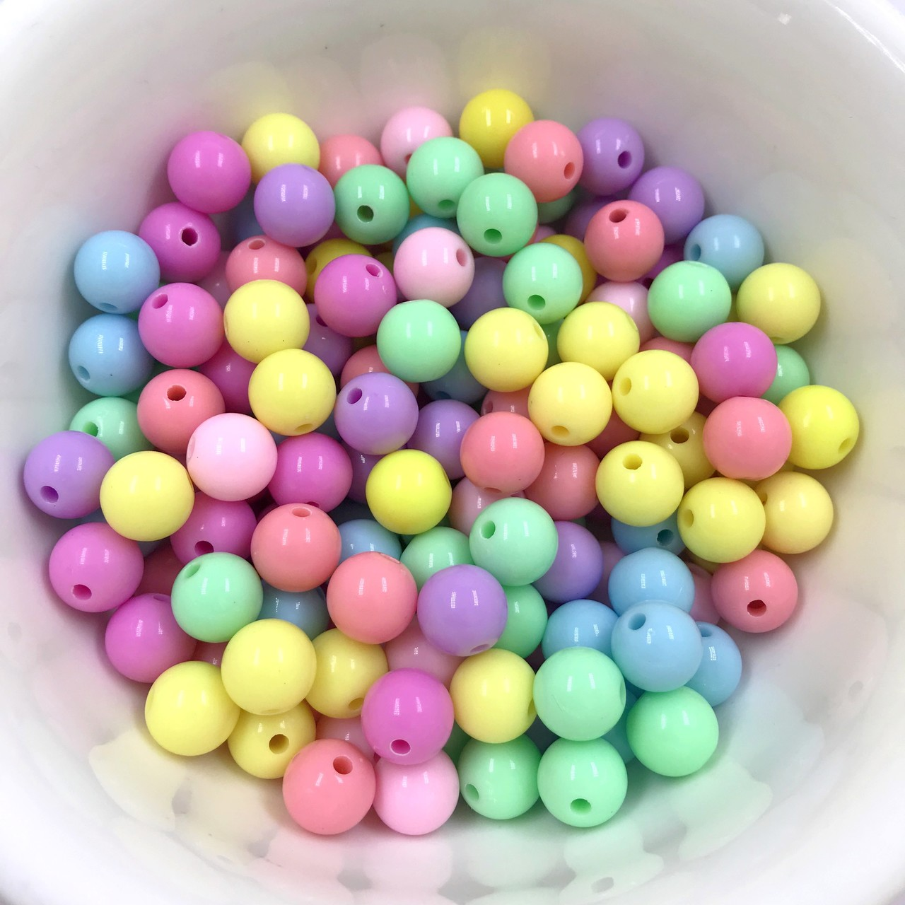 miçanga bola acrílica colorida com furo 12mm 50 unidades
