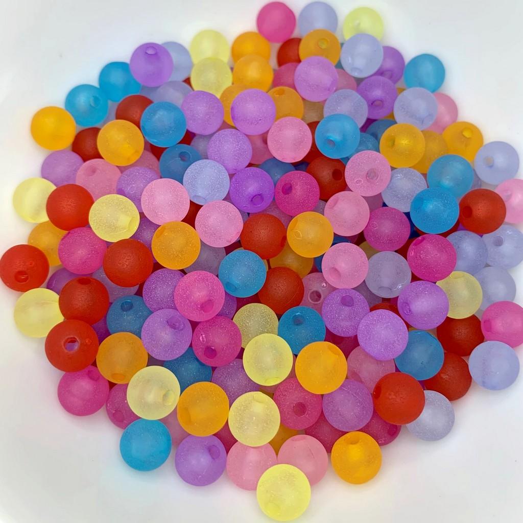 miçanga bola fosca transparente colorido com furo 8mm 25 unidades