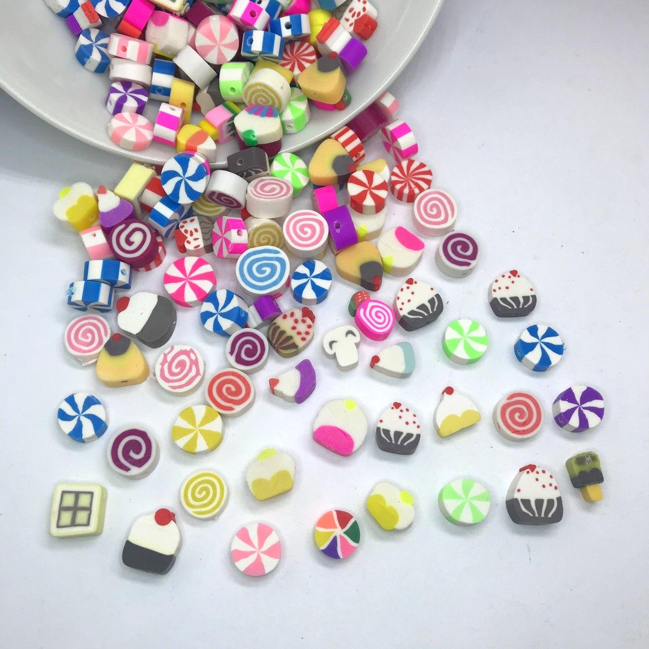 miçanga emborrachada doces com furo 1cm 25 unidades