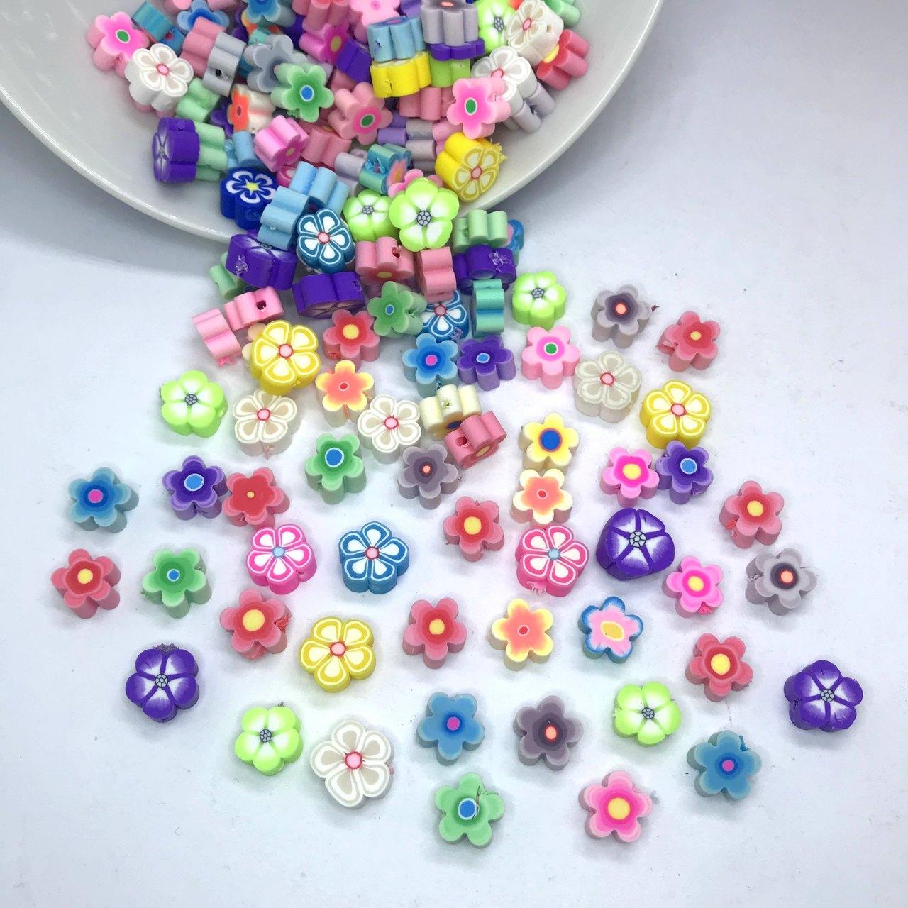 miçanga emborrachada flores com furo 1cm 25 unidades