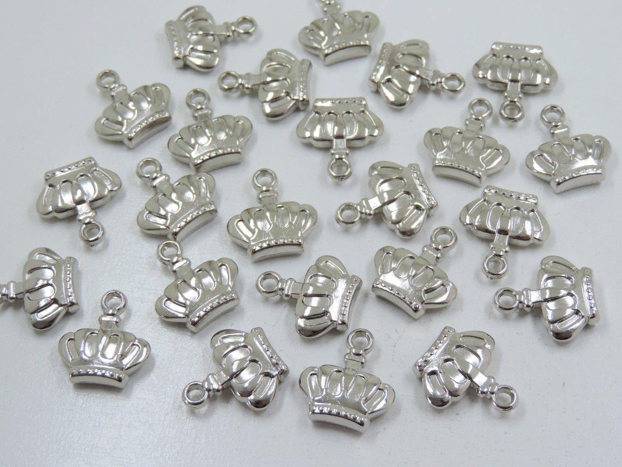 pingente coroa abs prata 2cm 24 unidades
