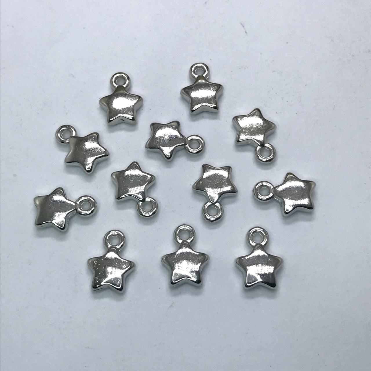 pingente estrela prata 10mm 12 unidades