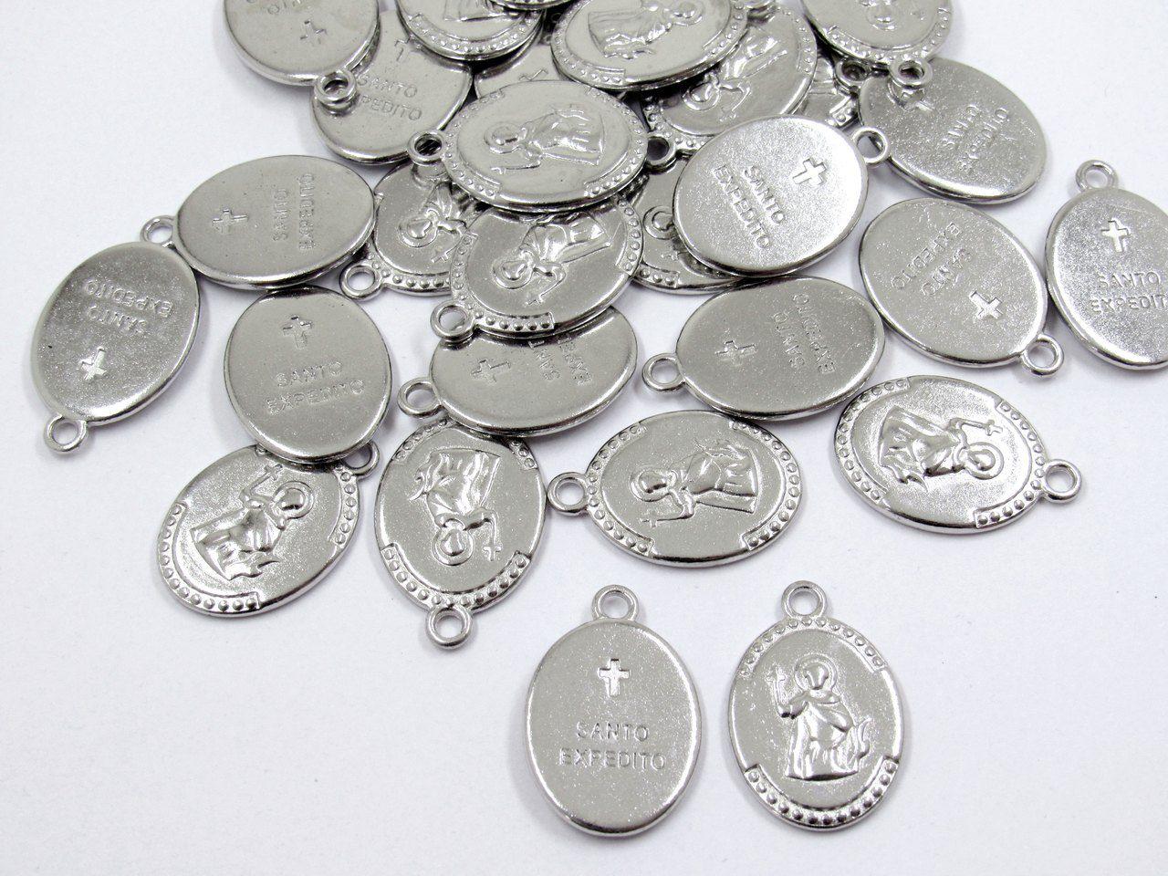 pingente medalha santo expedito 12 unidades