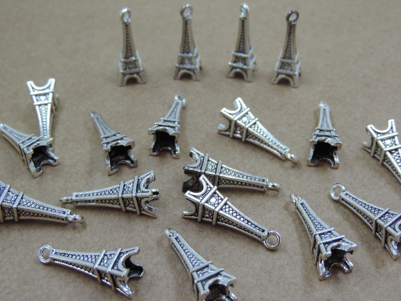 pingente torre eiffel prata 24x7mm 12 unidades