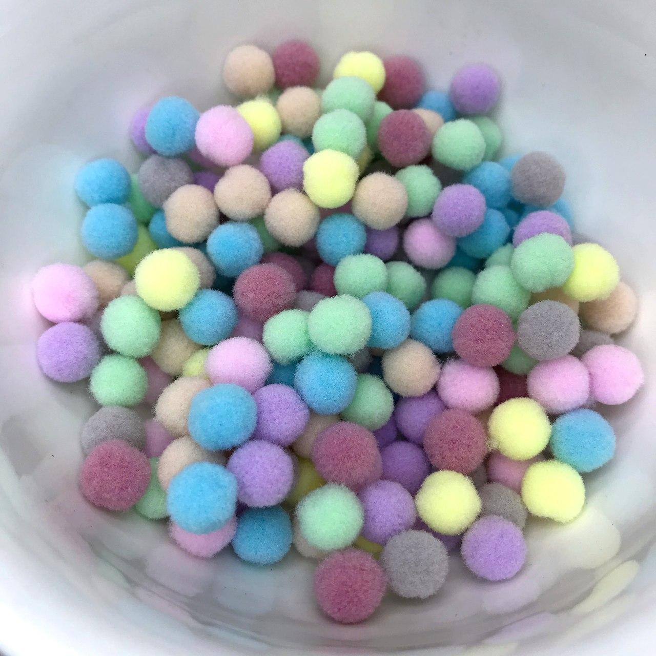 pompom bola de fio sintético 1cm candy colors 100 unidades