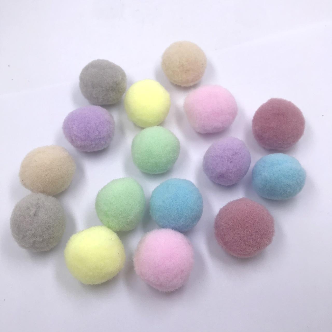 pompom bola de fio sintético 2,5cm candy colors 16 unidades