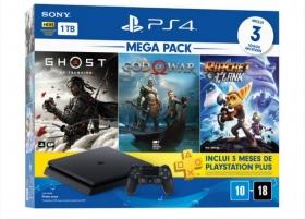 Console Playstation 4 Slim 1TB Bundle 3 jogos (Ghost of Tsushima, God of War, Ratchet & Clank)