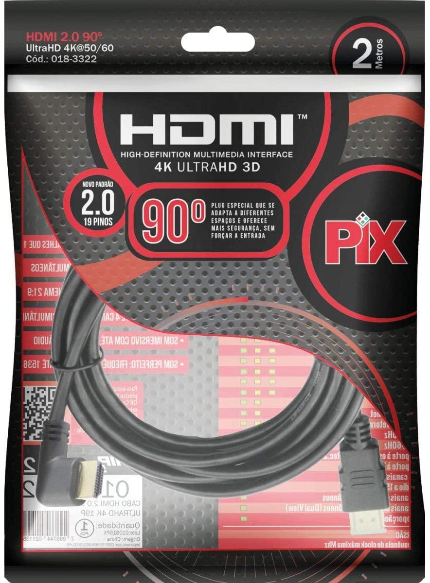 Cabo Hdmi 2.0 90 Graus 4K Hdr 19P 2M Pix Gold - Preto