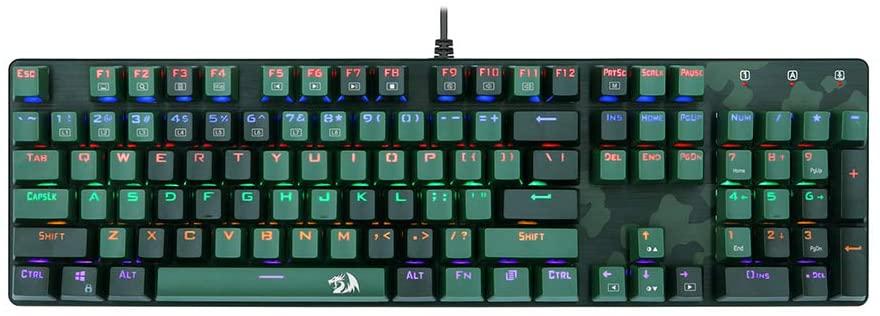 Combo Gamer Redragon Hunter Teclado Mecânico Rainbow ANSI + Mouse RGB Camuflado - S108