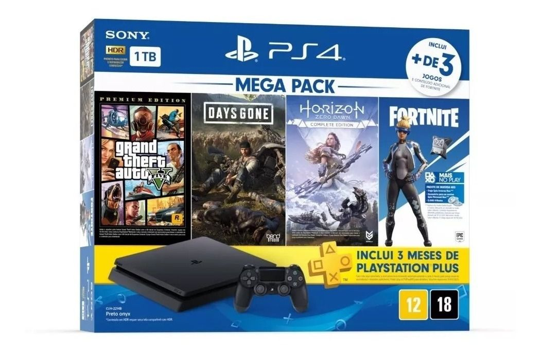 Console Playstation 4 Slim 1TB Bundle 3 jogos (Days Gone, GTA V, Horizon Zero Dawn)