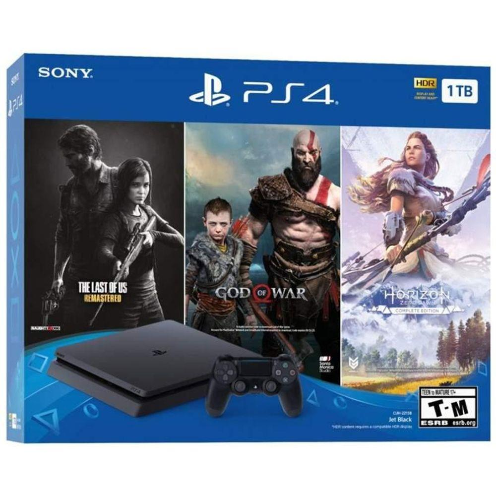 Console Playstation 4 Slim 1TB Bundle 3 jogos (The Last of Us, God of War, Horizon Zero Dawn)