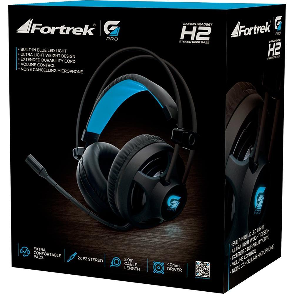 Headset Gamer Fortrek GPro H2 P2 - Preto com LED Azul