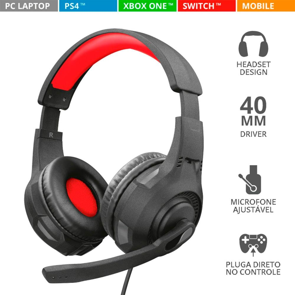 Headset Gamer Trust GXT 307 Ravu Preto/Vermelho