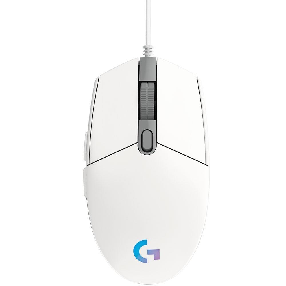 Mouse Gamer Logitech G203 RGB Lightsync 6 Botões 8000 DPI - Branco