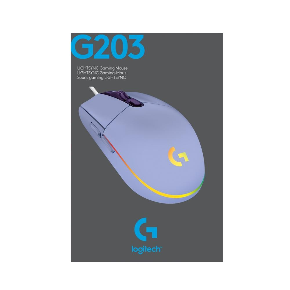 Mouse Gamer Logitech G203 RGB Lightsync 6 Botões 8000 DPI - Lilás
