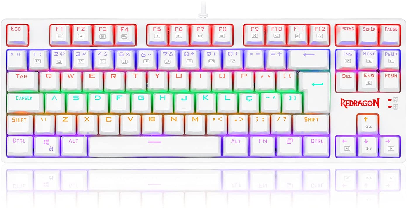 Teclado Gamer Redragon Daksa - Lunar White Rainbow - Switch Vermelho - K576W-R