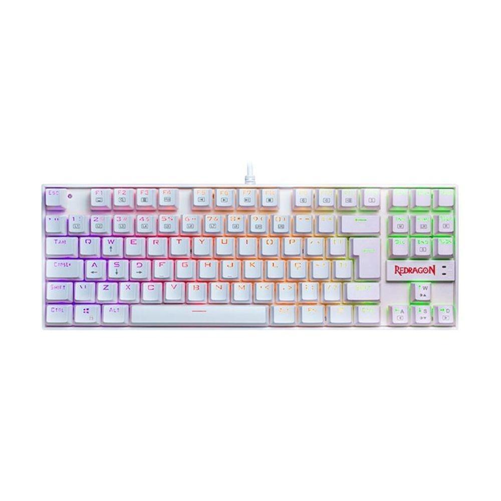 Teclado Mecânico Gamer Redragon Kumara RGB - Switch Outemu Blue - ABNT2 - Branco - K552W-RGB