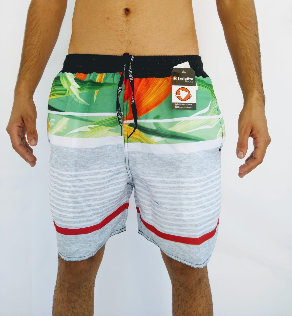 Short Tactel Praia Masculino Adulto Estampado
